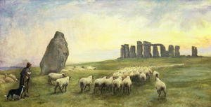 Realism painting reproductions: Returning Home, Stonehenge, Wiltshire, 1891