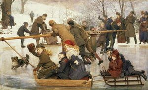 Realism painting reproductions: A Merry-Go-Round on the Ice  1888