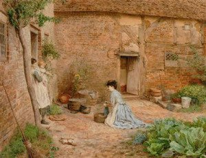 Realism painting reproductions: Overseeing the chores 1876
