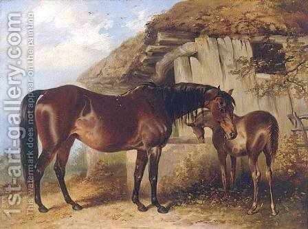 Mare and Foal 1850 by Henry Barraud - Reproduction Oil Painting
