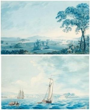 Joseph Charles Barrow reproductions - Shipping off Tarbert, Co. Kerry ( Figures in the grounds of Tarbert House, Co. Kerry- pair) 1795