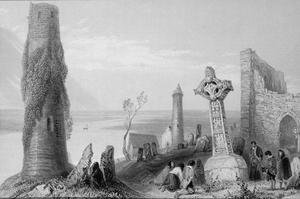 Famous paintings of Cemeteries: The Ancient Cross and Round Tower at Clonmacnois, County Offaly, Ireland, from 'Scenery and Antiquities of Ireland'