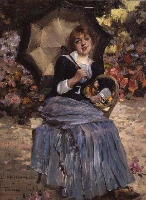 Realism painting reproductions: Girl with a sunshade 1879