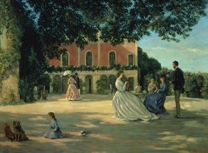 Reproduction oil paintings - Frederic Bazille - Family Reunion on the Terrace at Meric 1867