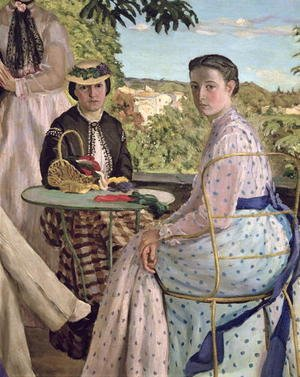 Reproduction oil paintings - Frederic Bazille - Family Reunion (detail of two women) 1867