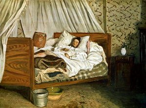 Reproduction oil paintings - Frederic Bazille - The Improvised Ambulance, The Painter Monet Wounded at Chailly-en-Biere 1865