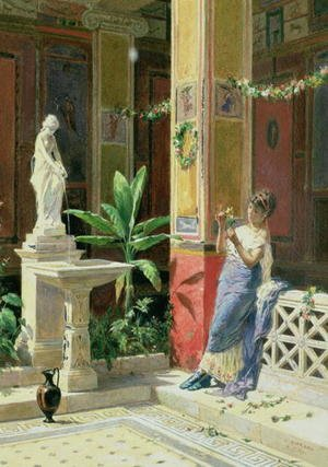 Famous paintings of Fountains: In a Courtyard in Pompeii  1878