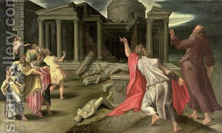 Scene from the life of St. John the Evangelist by Girolamo Mazzola Bedoli - Reproduction Oil Painting