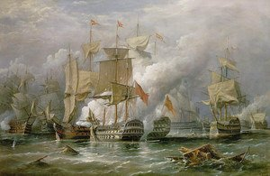 Famous paintings of Ships & Boats: The Battle of Cape St. Vincent, 14th February 1797,  1881