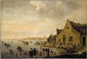 Famous paintings of Villages: Skaters on a frozen lake at the edge of a town 1653