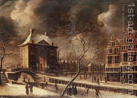 The Heiligewegspoort, Amsterdam, from the north-east in winter, with skaters on the frozen canal 1662-64 by Abraham Beerstraten - Reproduction Oil Painting