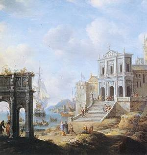 Famous paintings of Ports: A Capriccio of an Italianate Harbour capriccio with the Arch of Constantine and a Church with Figures and shipping beyond 1663