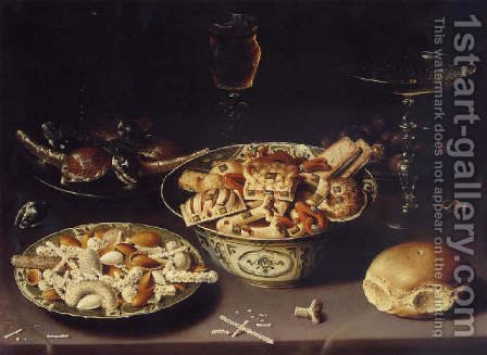 Quatre plats de friandises et de marrons avec troi verres by Osias, the Elder Beert - Reproduction Oil Painting