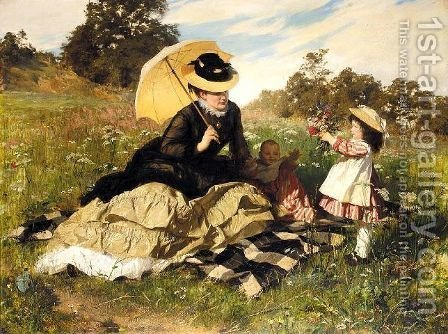 Sommer Picknick (Summer picnic) 1876 by Gyula Benczur - Reproduction Oil Painting
