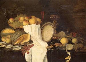 Famous paintings of Tea: Still life of melons, grapes, oysters, crab and lemons on pewter plates, with a basket of fruit, wineglasses and a gilt cup