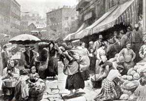 Realism painting reproductions: Mulberry Bend Italian Colony in New York  (illustration in 'Harper's Weekly' magazine)