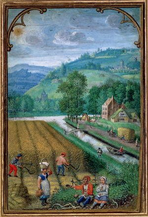 Famous Paintings in Victoria and Albert Museum, London, England: September- harvesting, ploughing and sowing, c.1540