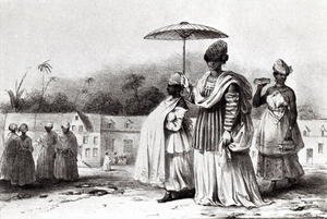 Realism painting reproductions: Lady taking a child to Baptism, from 'Voyage a Surinam', 1839