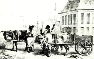 Realism painting reproductions: Negro Boys with bullock carts, from 'Voyage a Surinam' 1834