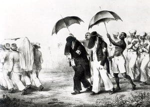 Realism painting reproductions: Negro Funeral Procession, from 'Voyage a Surinam'