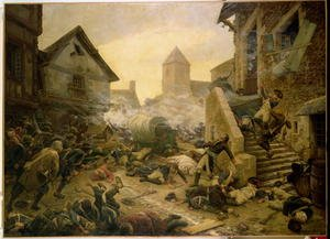 Famous paintings of Villages: Combat at Cholet, or The Suicide of General Moulin in 1794,  1900