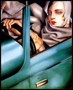 Famous paintings of Cars: Autoportrait (Tamara in the Green Bugatti) 1925