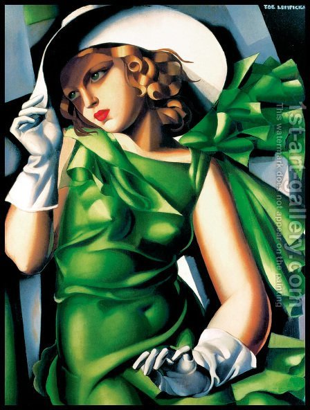 Young Lady with Gloves, 1930 by Tamara de Lempicka (inspired by) - Reproduction Oil Painting