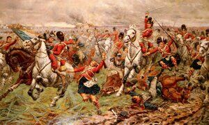 Famous paintings of Horses & Horse Riding: Waterloo- Gordons and Greys to the Front, 18th June, 1815