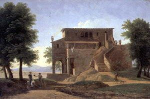 Jean-Victor Bertin reproductions - An Italian Villa with Figures