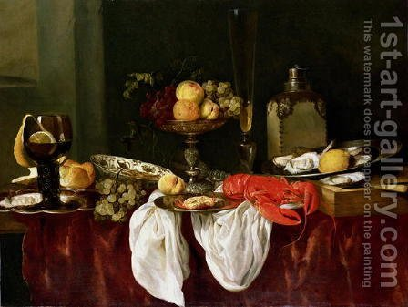 Still Life with lobster by Abraham Hendrickz Van Beyeren - Reproduction Oil Painting