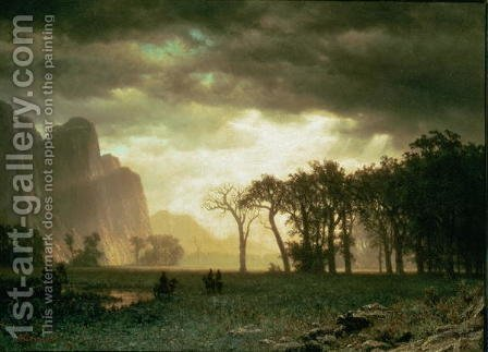 Passing Storm in Yosemite, 1865 by Albert Bierstadt - Reproduction Oil Painting