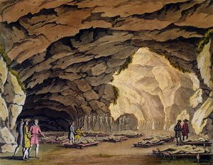 Famous paintings of Caves: Sepulchral Cavern of the Guances, from 'Le Costume Ancien et Moderne'  c.1820
