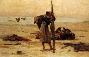 Realism painting reproductions: Oyster Catching, 1884