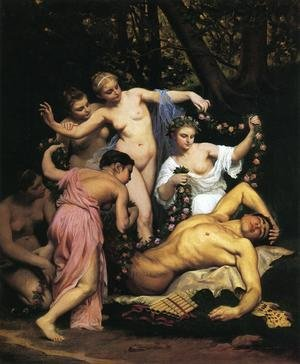 Famous paintings of Nymphs & Satyrs: Pan's slumber 1870