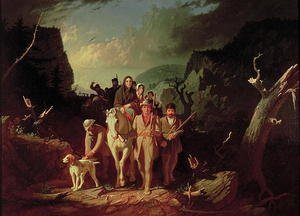 Romanticism painting reproductions: Daniel Boone escorting settlers through the Cumberland Gap, 1851-52