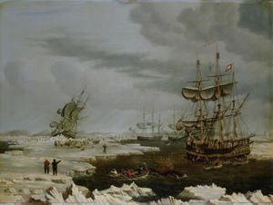 Romanticism painting reproductions: Hull Whalers in the Arctic 1822