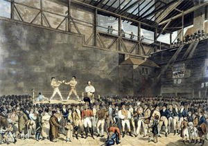 Famous paintings of Boxing: The Interior of the Fives Court, engraved by Charles Turner, 1818