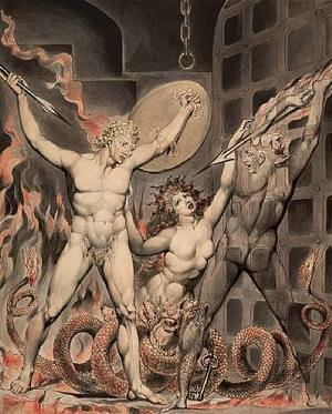 Famous paintings of Devils & Demons: Satan, Sin, and Death- Satan Comes to the Gates of Hell