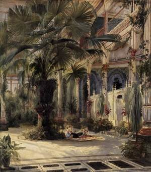 Romanticism painting reproductions: Interior of the Palm House at Potsdam, 1833