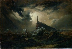Famous paintings of Clouds & Skyscapes: Stormy sea with Lighthouse