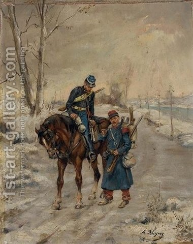 Deux militaires sur un chemin by Albert Bligny - Reproduction Oil Painting