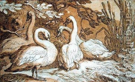 A Group of Swans by Abraham Bloemaert - Reproduction Oil Painting