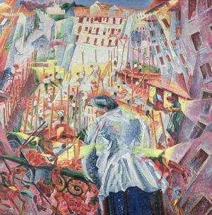 Futurism painting reproductions: The Street Enters the House 1911