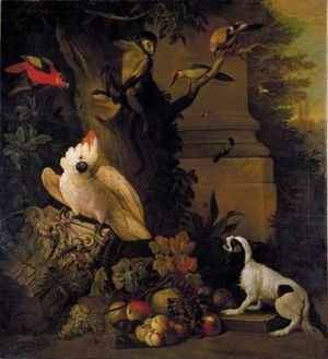 Famous paintings of Apples: Still life with parrots, a jay, a woodpecker and a finch, together with a spaniel and various fruits in a parkland setting