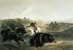 Indians Hunting the Bison, plate 31 from Volume 2 of 'Travels in the Interior of North America'