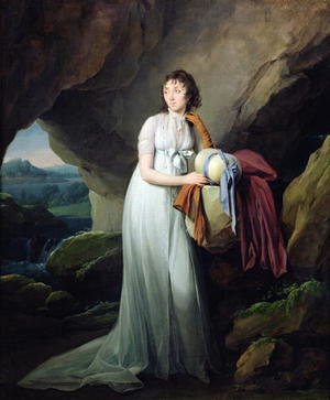 Famous paintings of Caves: Portrait of a Woman in a Cave, possibly Madame d'Aucourt de Saint-Just, 1805