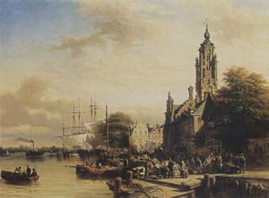 Reproduction oil paintings - Elias Pieter van Bommel - Numerous townsfolk on a quay, Middelburg 1852