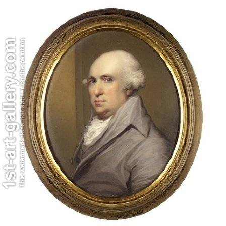 A portrait of George Stubbs (1724-1806) wearing a grey coat with a white cravat 1810 by Henry Bone - Reproduction Oil Painting