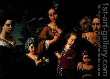 Family portrait group by Giuseppe Bonito - Reproduction Oil Painting