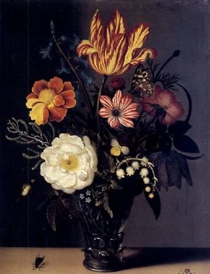 Famous paintings of Insects: Nature morte au bouquet de roses, tulips et muguet dans un verre roemer